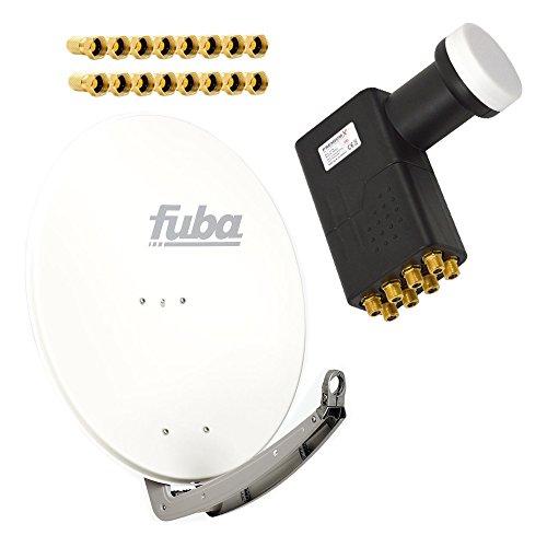 Antenne Fuba 85x85 cm Alu Weiß DAA 850 W mit LNB Octo 0,1 dB PremiumX PXO zum Direktanschluss von 8 Teilnehmern Digital HDTV FullHD 3D tauglich inkl. 16 F-Stecker vergoldet