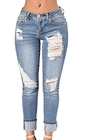 YYear Womens Stylish Washed Ripped Pockets Roll Up Jean Denim Pant Trouser 2 XS