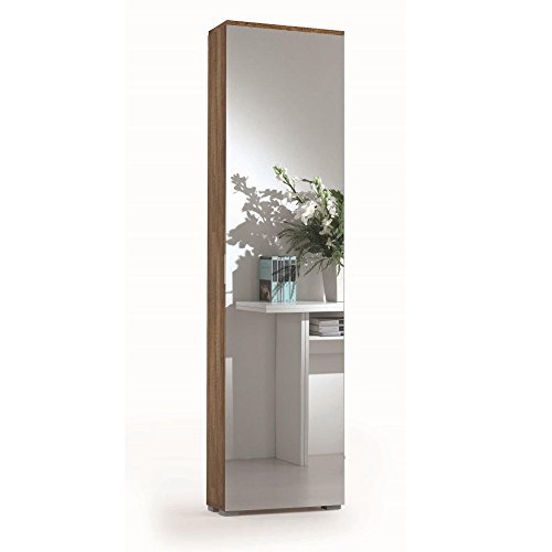 Distrimobel saetabis miguel a2 scarpiera con specchio, 50x18x178 h cm, rovere, melamina, melammina