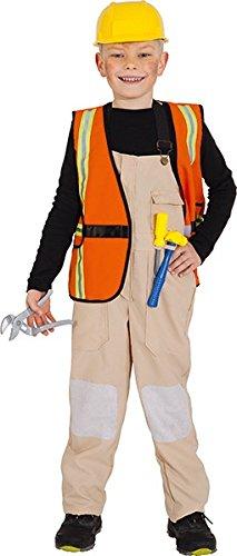 Kostüm Bauarbeiter für Kinder mit Helm und Zubehör (Bauarbeiter Kostüm Zubehör)