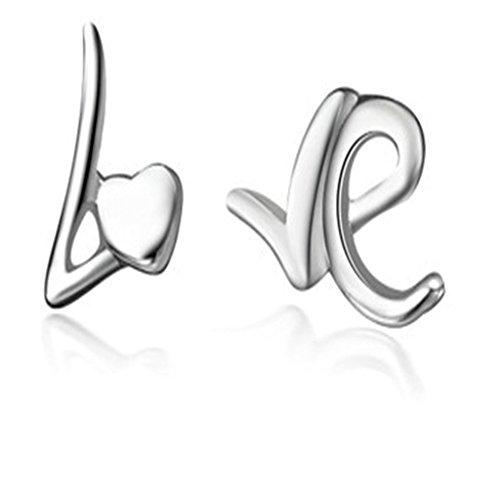 Daesar Ohrstecker Versilbert Silber Ohrringe Herz Ohrringe Brief Liebe Ohrringe Platz Ohrring (Weißen Reifen 15 Brief)