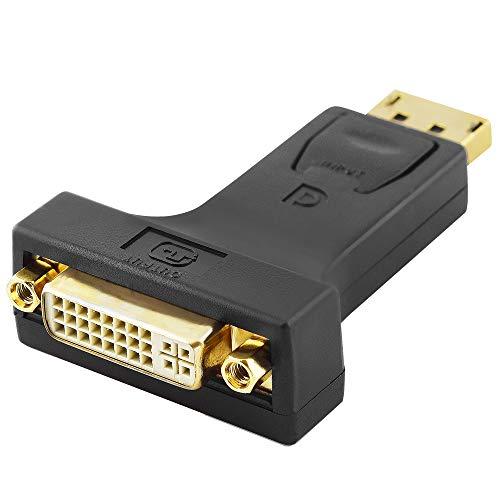 BestPlug DisplayPort DVI Adapter/DP Stecker männlich auf DVI-I 24+5 Dual Link Buchse Kupplung weiblich vergoldet/Schwarz -