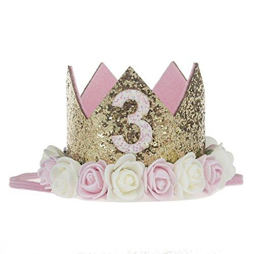 LQZ(TM) Geburtstag Krone 3 Jahr Baby Geburtstagskrone Haarband Haarschmuck Prinzessin Pink Blumen (Krone Geburtstag Prinzessin)
