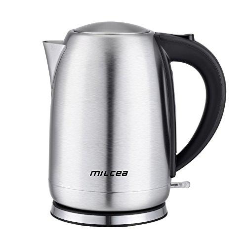 Wasserkocher Edelstahl 1.7L Automatische Abschaltung Wasserkessel Teekanne mit BPA-Frei Trockengehschutz Schnellwasserkocher, 2400 Watt, Silber