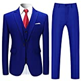 Costume Homme 3 Pcs Costard Blazer Veste et Pantalon Gilet Mariage Party Smoking, Bleu 3, S
