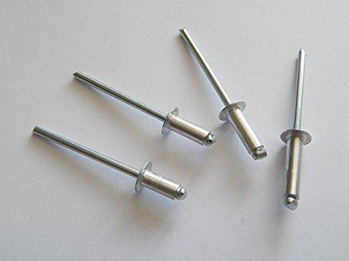 100 Stück Blindnieten Popnieten Alu/Stahl 2,4 x 12,0 mm Nieten Flachkopf DIN 7337