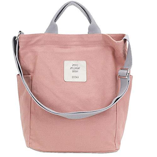Funtlend Tasche Canvas Damen Rosa Umhängetaschen groß Handtasche Damen Schultertasche Crossbody Bag Shopper für Schule Shopping Arbeit Einkauf