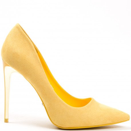 Ideal Shoes - Escarpins à bout pointus effet daim Timona Jaune