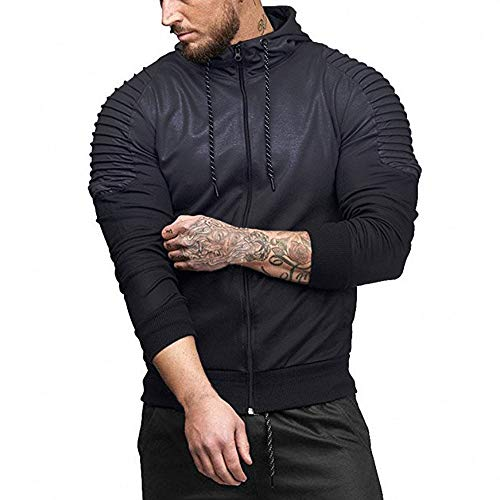 MRULIC Herren Herbst Winter Hoodie Langarm Spleißen Falten Kapuzen Sweater Tops Streetwear Trainingsanzüge RH-038(Dunkelgrau,EU-46/CN-L)