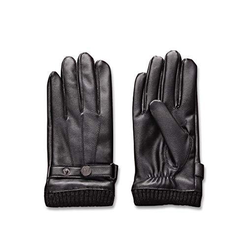Voll-leder-fahrer-handschuhe (Nappaglo ® Männer PU Lederhandschuhe Touchscreen - Handschuhe Mit Langen Fleecefutter Winter Fahren)
