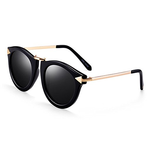 Sonnenbrille für Herren Sonnenbrille für Damen Brille mit rundem Schlag Retro Polarizer Ultraleichter Polarisator,A