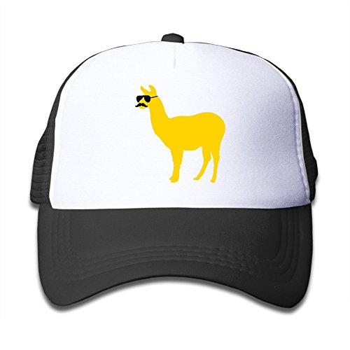 Kid komisch, Lama mit Sonnenbrille und Schnurrbart Trucker Mesh Baseball Cap Hat Trucker Mützen schwarz -  schwarz -