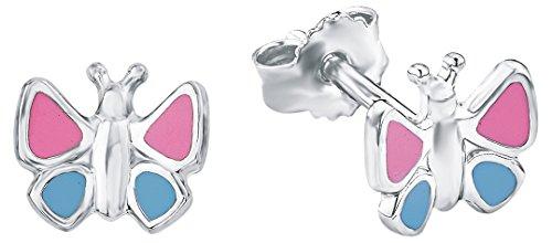 Amor Kinder-Ohrringe Ohrstecker Schmetterling Mädchen 925 Sterling Silber blau rosa 8 mm