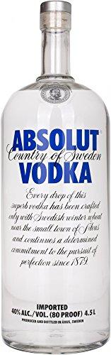 Absolut Vodka Original – Absolute Reinheit und einzigartiger Geschmack in ikonischer Apothekerflasche – Schwedischer Klassiker - ideal für Cocktails und Longdrinks – 1 x 4,5 L