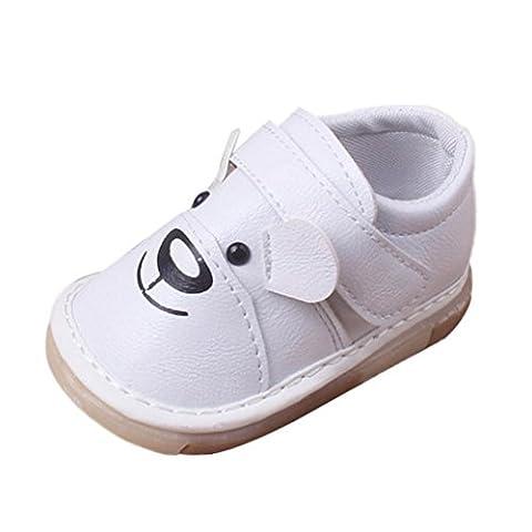 Chaussures Bébé ,Manadlian BéBé Garçons Filles Cartoon Cuir Chaussures Simples (18 ~ 24 Mois, Blanc)