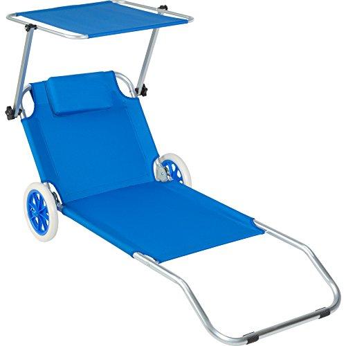 TecTake 800536 - Rollliege mit Sonnendach, 7-Fach verstellbare Rückenlehne, Abnehmbares Kopfpolster - Diverse Farben (Blau | Nr. 402784)