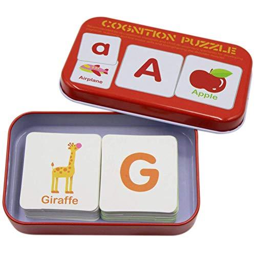 lphabet-Puzzle-Karten, 32-TLG. Lernkarten Alphabet-Puzzle-Karten mit Metallbox Passendes Puzzle-Lernspielzeug ()