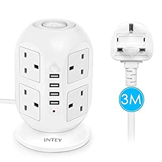 INTEY Tower Power Strip Socket Extension Lead With USB 3 M/9.8ft 4 USB Ports 8 Way Outlets Surge Protector With Overload Protection