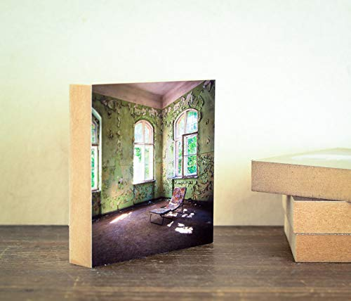 alte Liege Vintage Industrie Halle Villa Lost Place Foto auf Holz, im Quadrat, 10 x 10 cm