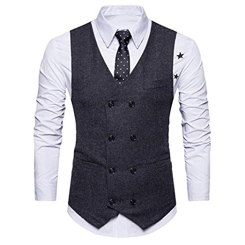 Winterjacke Herren Manadlian Männer Warm Vest Formal Tweed Scheck doppelt Breasted Weste Retro Slim Fit Passen (Gangster Weste)