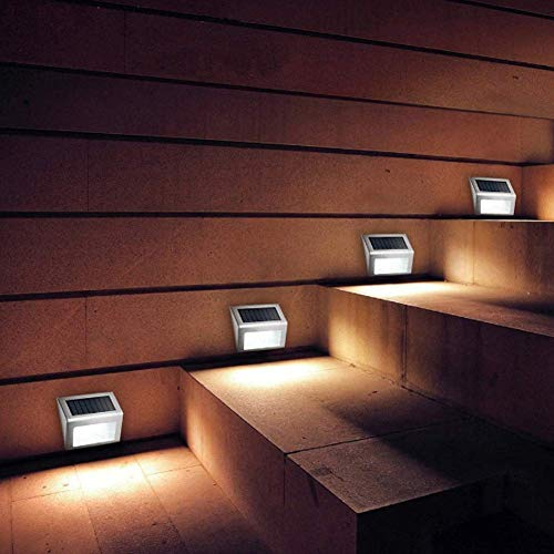 [4 Pack] Solarleuchten/Stufenleuchten für den Außenbereich, Edelstahl, wasserdicht, 3 LED-Lichter beleuchtet Treppen, Terrasse, Deck, Hof, Gartenweg, Zaunpfosten