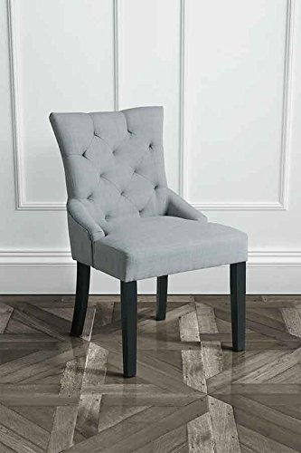 My furniture high quality buttoned upholstered scoop for Upholstered dining chairs with black legs