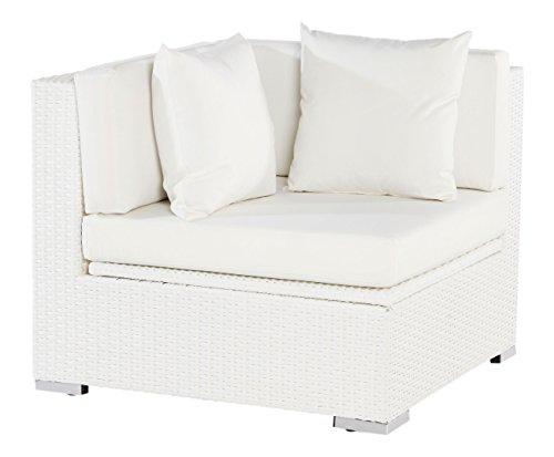 Outflexx Eckelement, inklusive Polster und Kissen, Kissenbox funktion, Polyrattan, Weiß, 152 x 85 x 70 cm