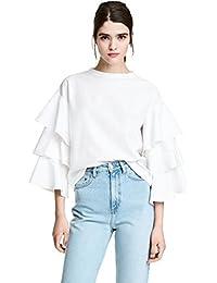 a718a444c6ebf Multitiered Volants Volantée Manches Cloche Larges Manches Longues Blouse  Chemisier T-Shirt Shirt Chemise Tee
