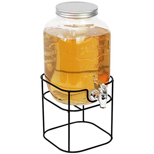Getränkespender 4 Liter, Ø15xH25cm, inkl. Zapfhahn und Ständer - Saftspender Wasserspender Glaskrug Getränkeflasche