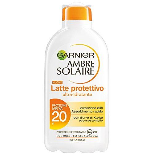 Garnier ambre solaire protezione solare latte protettivo idratante ip 20-200 ml