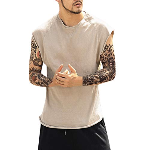 Fenverk Men's Fitness Shape Shirt Figure Shaping Training Underarm Shirts Vest Sauna Sweat Effect Tank Top Strong Gym Body Shape with Wide Straps(Khaki-04,L)
