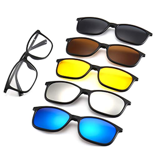 hlq Men es and Women ' s Linenses, Universal Outdoor Glasses, UV400 Polarized Lens Retro Magnetic Clamps Visible Light Perspective 99% Ultra Light,6 Interchangeable,2263
