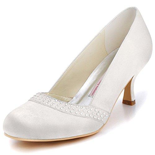 ElegantPark A0718 Escarpins Femme Satin Rhinestones Bout Rond Haut Talon Aiguille Chaussures de mariee Bal Ivoire