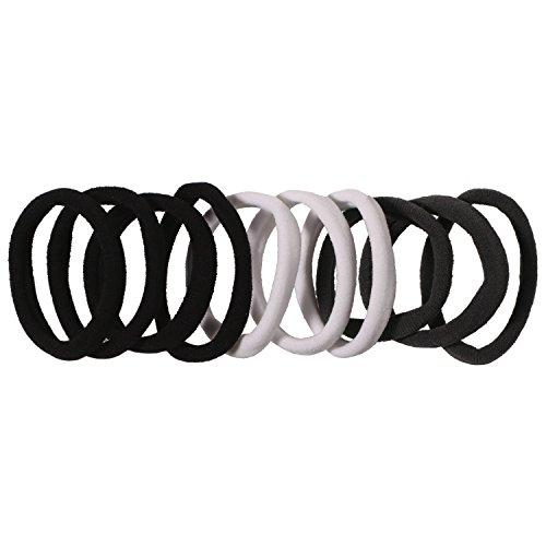 lot-de-10-elastiques-en-lycra-noir-gris-blanc-accessoire-cheveux-coiffure