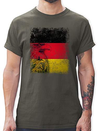 Fußball-Europameisterschaft 2020 - Deutschland WM Adler Flagge - 3XL - Dunkelgrau - L190 - Tshirt Herren und Männer T-Shirts