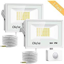 Olafus 2 Pack 35W Projecteur LED Extérieur Détecteur de Mouvement, 3800LM, Spot LED Puissant, IP66 Etanche, 5000K Blanc Froid, Eclairage de Sécurité pour Jardin, Garage, Allée