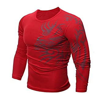 Anglewolf 100% Contton Men Fashion Printing Men's Long-Sleeved T-Shirt(Red-Modal,3XL)