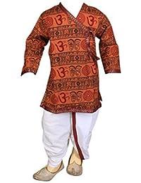 FOCIL Brown Om Printed Dhoti & Kurta Pant Set For Kids