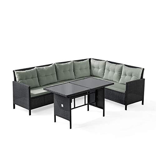 ksofa Rattan-Lounge Esstisch Gartenmöbel-Set Sofa Garnitur Couch-Eck (Dining Set, Schwarz) ()