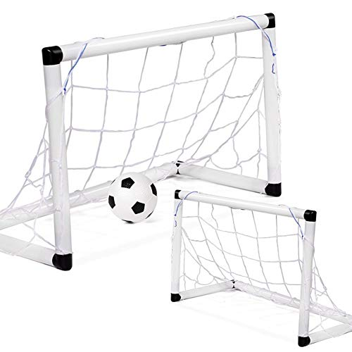 LEOO 2-Pack-Jugendfußballtore mit Fußball und Pumpe | Tragbare Ziele mit Netzen | Kindersportaktivität, Übungsgröße Ausrüstung | Reise- und Gartenspielzeug für Kinder