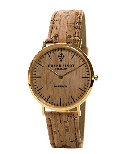 Grand Pinot Flache Uhr Damen Classic (36 mm) Gold aus Barriquefass mit Kork-/Lederarmband