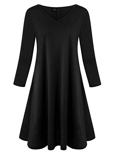 Süße 3/4 Ärmel T-shirt (Anna Smith Tunika Swing Kleid, Damen Vintage-Design Casual Wear 2/3 Ärmel Fit T-Shirts V-Ausschnitt Ausgestellte Basic Knit Pullover Tops Gemütliche Urlaub Tee und Blusen Schwarz X-L)