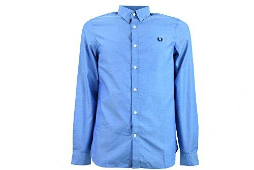 Fred Perry Uomo camicia di cotone nastro trim Blu Medio S