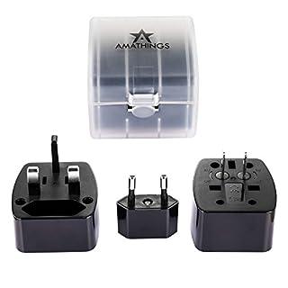 Kompakter Reisestecker Adapterstecker in Schwarz mit Schutz-Case für 150 Länder 6A Max. Von Amathings