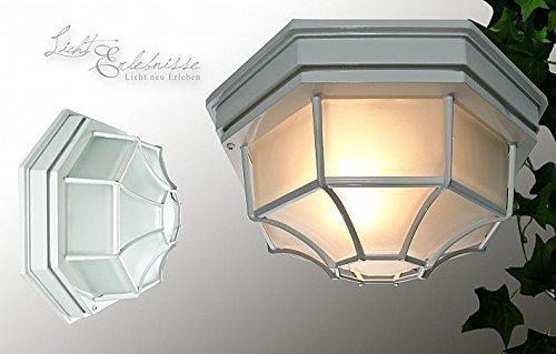 100w Max, 3-weg (Rustikale Deckenleuchte in weiß inkl. 1x 12W E27 LED 230V Deckenlampe aus Aluminium & Glas für Garten/Terrasse Garten Weg Terrasse Lampe Leuchten Beleuchtung)