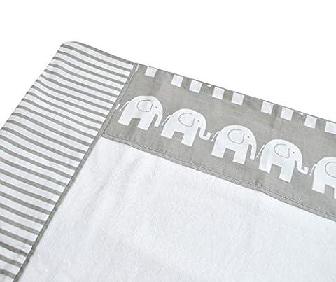 Bezug für Wickelauflagen Wickelunterlagen von HOBEA-Germany 78cm x 78cm, Wickelauflagenbezug:Elefanten/Streifen (bedruckt)
