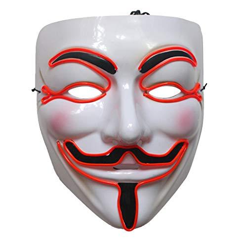 Zzqyis-Halloween Vendetta LED Maske Leuchtend Cosplay Maskerade Kostüm Party Zubehör