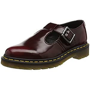 Dr. Martens Vegan Polley Cherry Red Cambridge Brush, Merceditas para Mujer