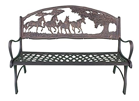 Gardeco Steel Framed Cast Iron Bench with Horses and Tree Motive - 127cm W x 68.6cm D x 91.5cm H
