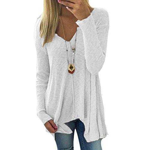 Damen Pullover V-Ausschnitt Sweater - Frauen Oberteile Langarm Shirt Jumper Strickpullover Unregelmäßiger Tops Strickpulli Herbst und Winter Sweatshirt Weiß XL hibote (Weiß Plaid Shirt Cotton)